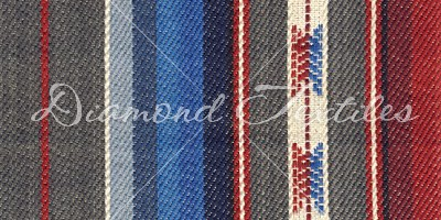 grey, blue, red striped home deco fabrics
