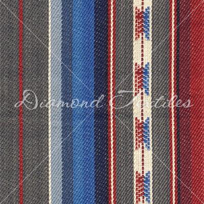 grey, blue, red striped home deco fabrics