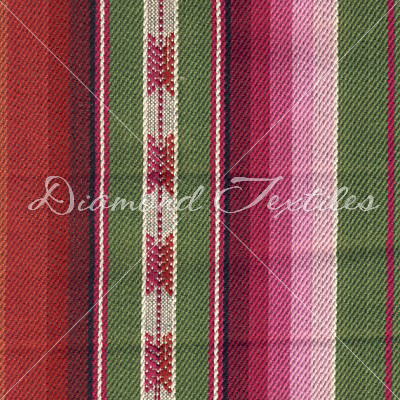 red, pink, green stripes home deco fabric