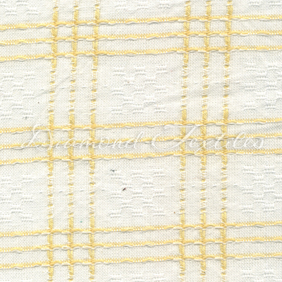 Primitive fabric, with white and yellow plaid design ...